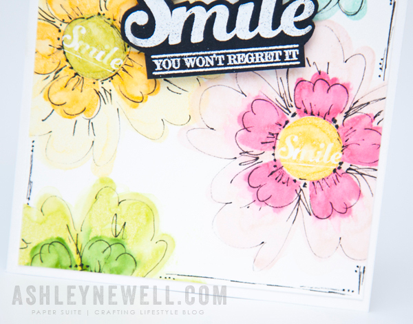 Smile card | Project by Ashley Cannon Newell for Papertrey Ink (Enclosed: Flower - February 2015)