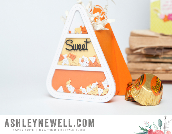 Project by Ashley Cannon Newell for Papertrey Ink (August 2015 - Shaker Shapes: Candy Corn + Haunted Headstones + Petite Places: Spook Manor) #PaperSuite #AshleyCannonNewell #PapertreyInk