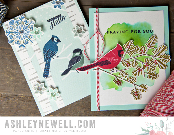 Project by Ashley Cannon Newell for Papertrey Ink - November 2015 - Winter Woods + Keep It Simple: Praying For You + Fab Flakes + Tucked In: Sympathy- #PaperSource #PapertreyInk #AshleyNewell