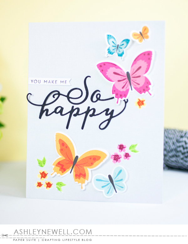 Project by Ashley Cannon Newell for Papertrey Ink - #AshleyCannonNewell #PaperSuite #PapertreyInk - April 2016 - Make It Market Mini Kit: Color Pop Butterflies