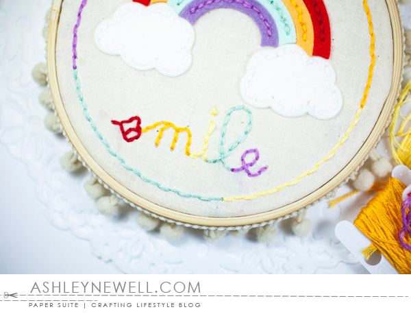 Embroidery Hoop by Ashley Cannon Newell for Papertrey Ink - April 2016 - #AshleyCannonNewell #PaperSuite #PapertreyInk - Stitched Rainbow + Stitched Circle Holes + Stitched Smile Cloud