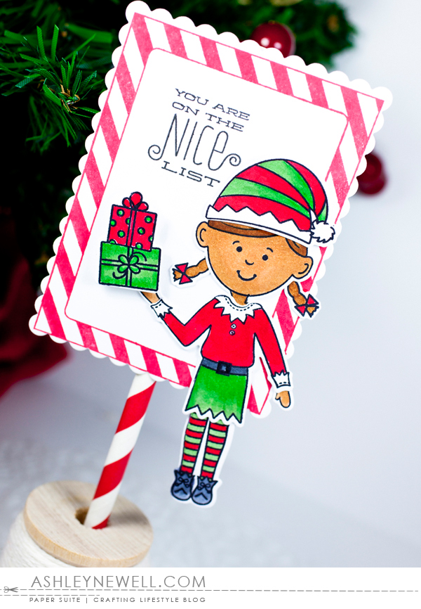 Project by Ashley Cannon Newell for Papertrey Ink - September 2015 - #PapertreyInk #PaperSuite #AshleyCannonNewell - Dress Up Dolls: Elves + Elf Sentiments