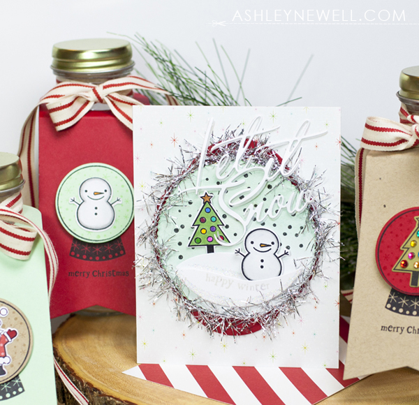 Project by Ashley Cannon Newell for Papertrey Ink - December 2016 - Winter Snow Globe - #AshleyCannonNewell #PaperSuite #PapertreyInk
