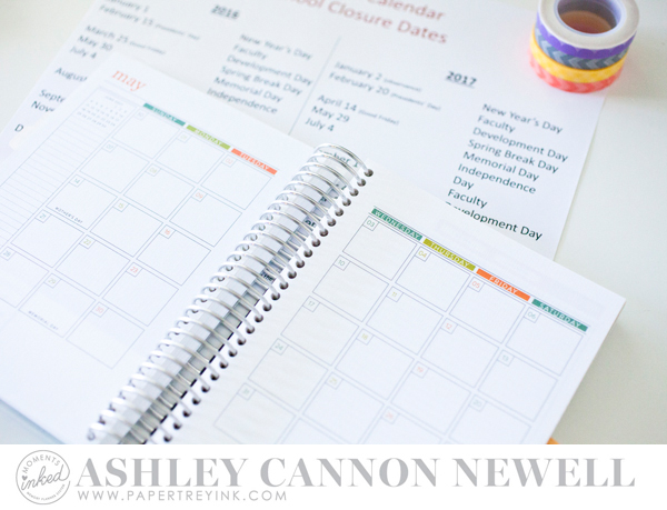 Moments Inked by Ashley Cannon Newell for Papertrey Ink - November 2016 - #MomentsInked #Planner #MealPlanner #PaperSuite #AshleyCannonNewell - Moments Inked Planner + Meal Planner 2017