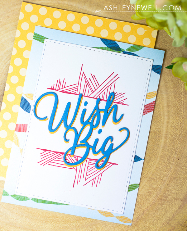 Project by Ashley Cannon Newell for Papertrey Ink - November 2016 - #AshleyCannonNewell #PaperSuite #PapertreyInk - Big Basics: Wish Big + Splits: Happy Birthday